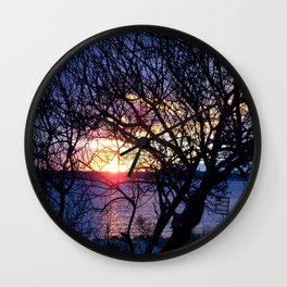 Sunset Through The Plum Bush Wall Clock
