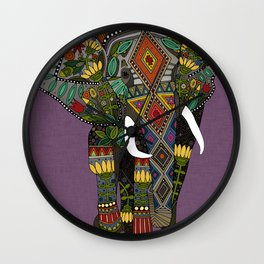 floral elephant violet Wall Clock