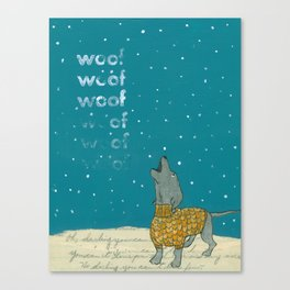 Dogs in Sweaters Barking at Snow or Stars Canvas Print