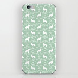 Bernese Mountain Dog florals dog pattern minimal cute gifts for dog lover silhouette mint and white iPhone Skin