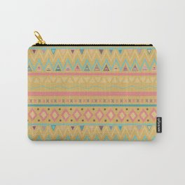 Hand painted geometrical pink teal yellow tribal aztec Carry-All Pouch
