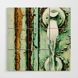 Green Door Handle, Peeling Turquoise Paint, Rusty Door Wood Wall Art