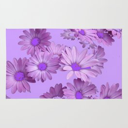 Pinkish Lilac Color Purple Daisy Flowers Garden Rug