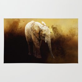 The cute elephant calf Rug