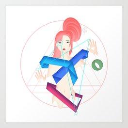Melty Geometric Girl Art Print