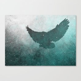 Owl Silhouette | Swooping Owl Ghost | Space Owl Canvas Print