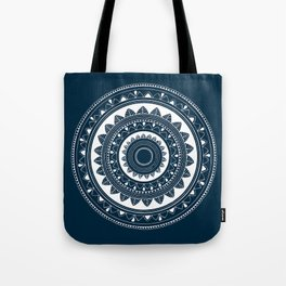 Ukatasana white mandala on blue Tote Bag