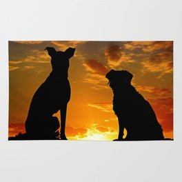 TWO DOGS AT SUNSET Rug