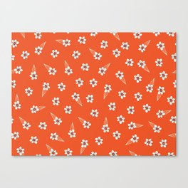 tiny white flowers on red Canvas Print