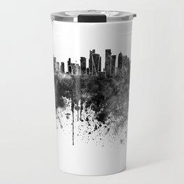Doha skyline in black watercolor  Travel Mug