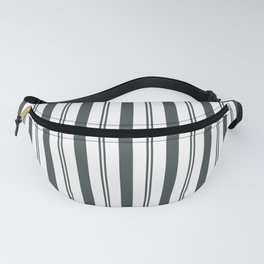 PPG Night Watch Pewter Green & White Wide & Narrow Vertical Lines Stripe Pattern Fanny Pack