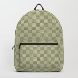Checkered Olive Green Grunge Pattern Backpack