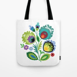 Polish Folk Art Print Aqua Tote Bag