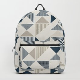 Blue Beige Abstract Striped Triangles Backpack