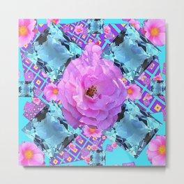 PINK ROSES & AQUA MARCH GEMS ART Metal Print