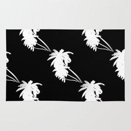 Palm Tree Pattern Black and White Rug