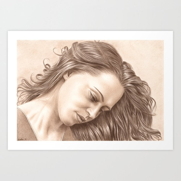 In her thoughts Art Print