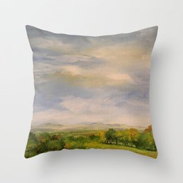 Scenic Autumn Late Afternoon in Vermont Nature Art Landscape Oil Painting Throw Pillow