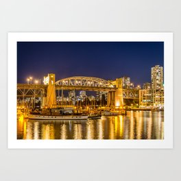 Burrard Bridge Vancouver Night Scene Art Print