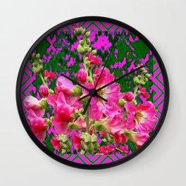 Decorative Fuchsia & Green Hollyhocks Garden Pattern Art Wall Clock