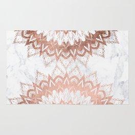 Modern chic rose gold floral mandala illustration on trendy white marble Rug