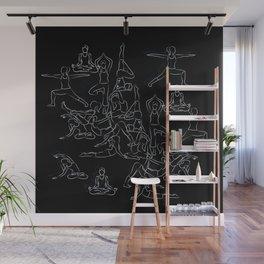 Chalkboard Yoga Pattern - white on black Wall Mural
