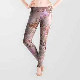 Rose Gold Blush Glitter Ombre Mermaid Scales Pattern Leggings