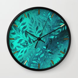 Monochrome Leaf Arrangement (Teal) Wall Clock