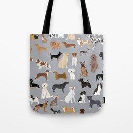 Mixed Dog lots of dogs dog lovers rescue dog art print pattern grey poodle shepherd akita corgi Tote Bag