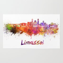 Limassol skyline in watercolor Rug