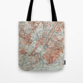 Vintage Map New York Tote Bag