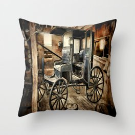 Vintage Horse Drawn Carriage Throw Pillow