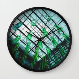 Green Bottles Hanging from the Ceiling Wall Clock