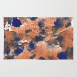 Peach Blue colorful watercolor design Rug