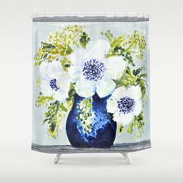 Anemones in vase Shower Curtain