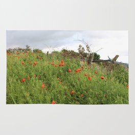 Poppies on a Hill Rug
