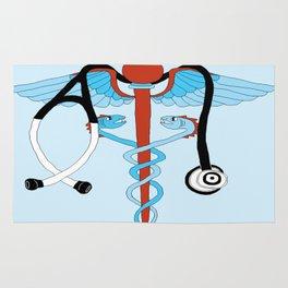medical caduceus and stethoscope Rug