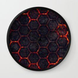 Lava Hexagons Wall Clock