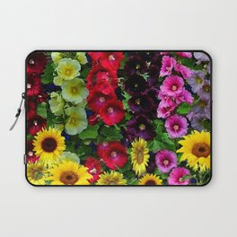 ENGLISH HOLLYHOCKS & SUNFLOWER GARDEN Laptop Sleeve