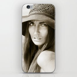 Woman in hat iPhone Skin