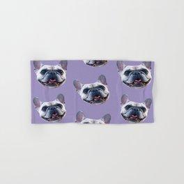 light purple dog pattern cute puppy french bulldog Hand & Bath Towel