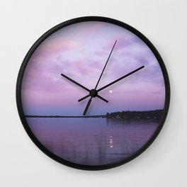 Full Moon Over The Crooked Lake Wall Clock