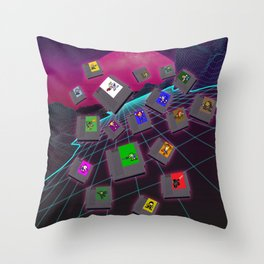 Retro 80s Synthwave Game Cartridge Collage Throw Pillow