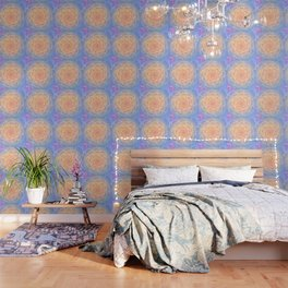 Romantic violet and yellow flower Wallpaper