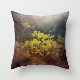 Abstract Yellow Daisies Throw Pillow