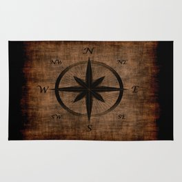 Nostalgic Old Compass Rose Rug