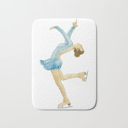 Girl in blue dress. Figure skater. Bath Mat