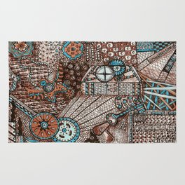 Steampunk styled Zentangle Inspired Art Drawing Rug