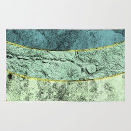 Blue turquoise rock texture lines Rug