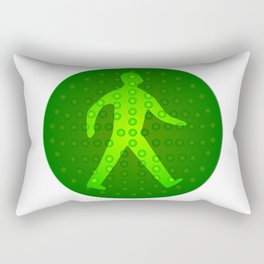 Green Walking Man Rectangular Pillow